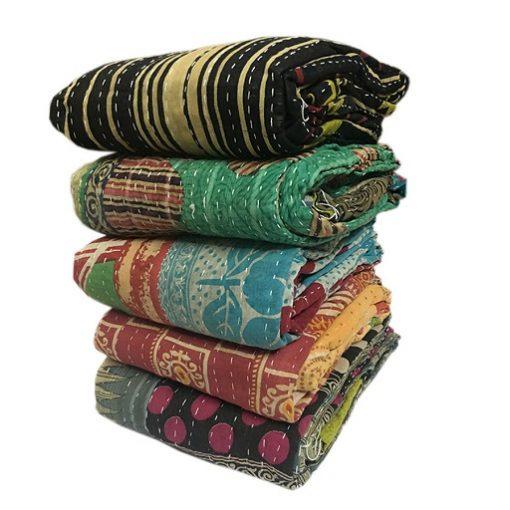 Wholesale lot of 5 - Vintage Kantha Quilts