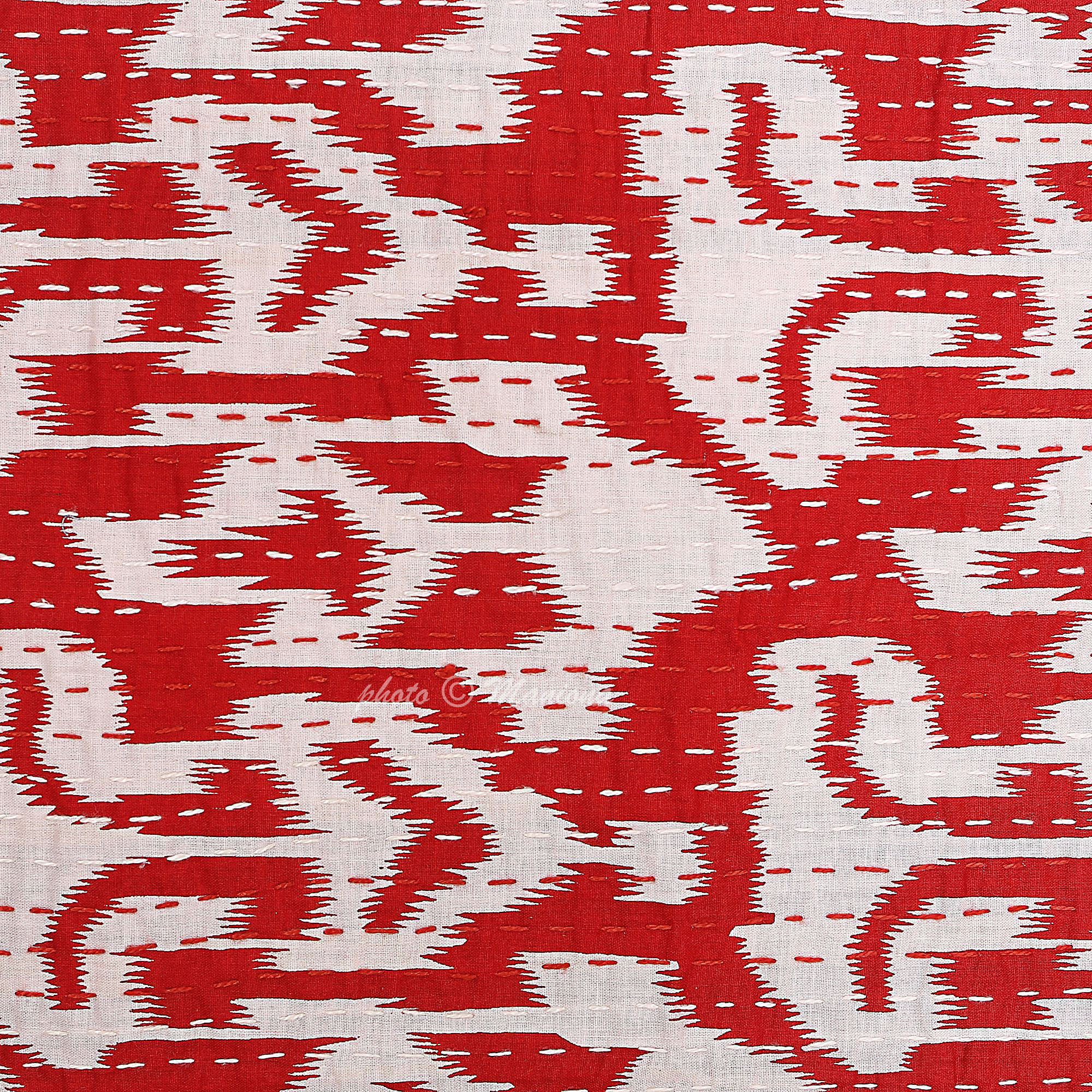 Red Ikat Print Kantha Cushion Cover 16 Inch Vintage