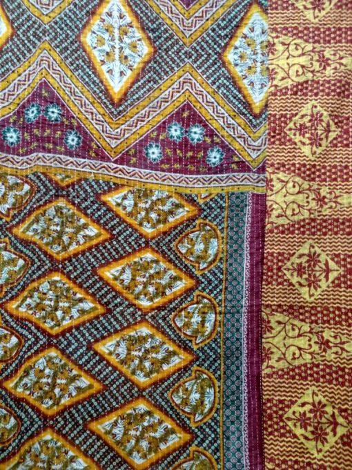 diamond kantha twin quilt