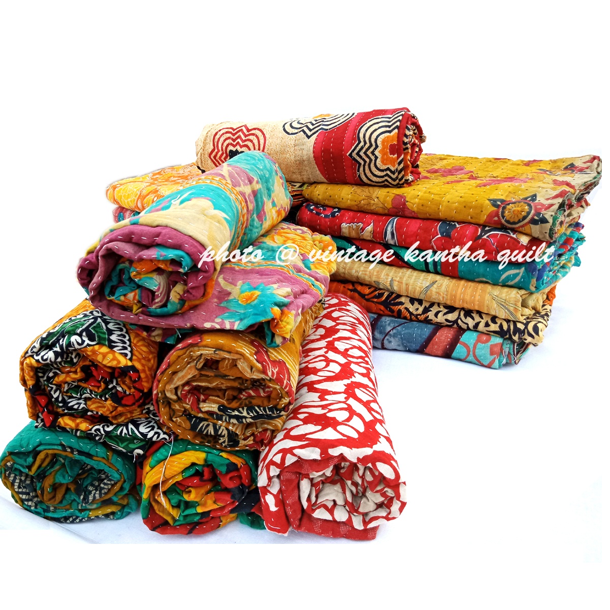 Vintage Indian Kantha Throw lot
