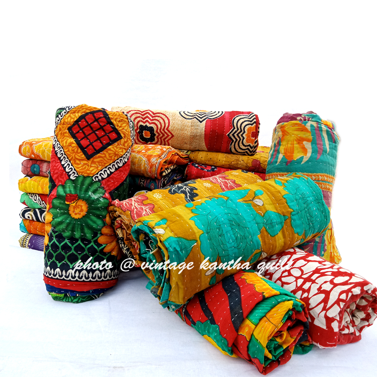 Vintage Kantha Quilt lot by Lalli