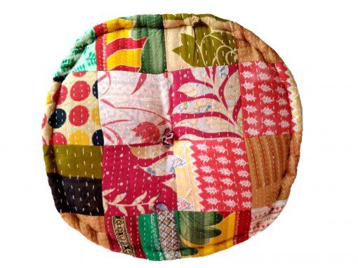 Vintage Kantha Patchwork Floor Cushion