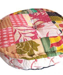 Round patchwork kantha pillow cushion