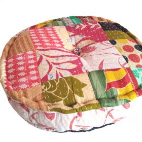 Round patchwork kantha pillow cushion