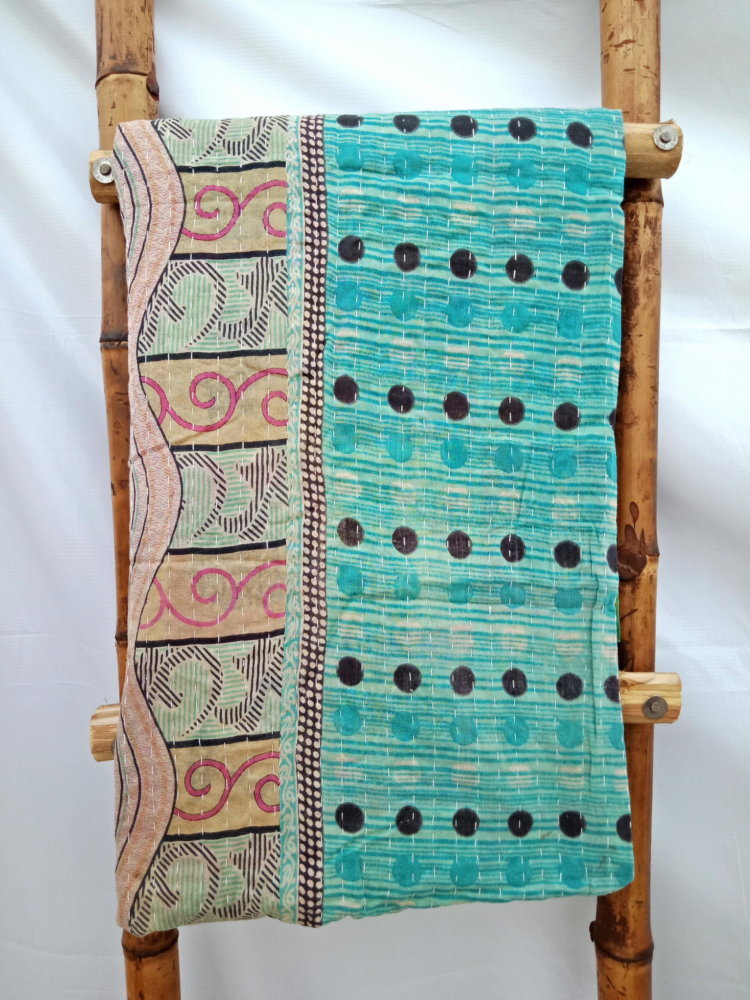 Polka Dot Kantha Handmade Quilt