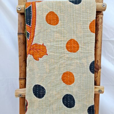 Kantha Twin Polka Dot Blanket
