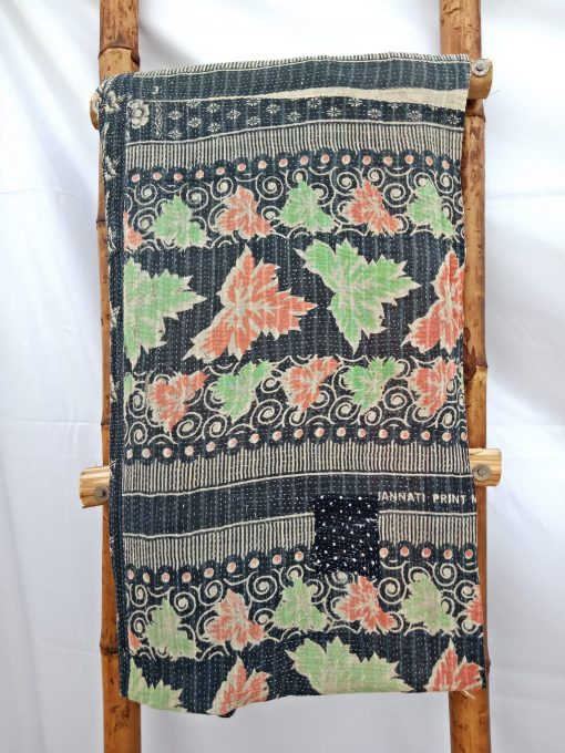 black Kantha Quilt by Samira