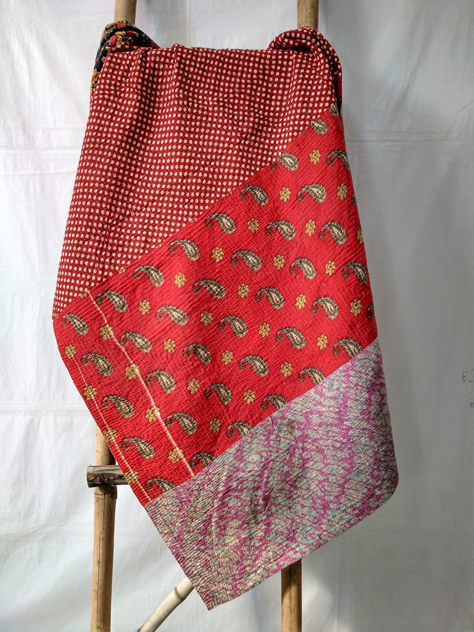 Close Stitched Heavy Kantha Quilt queen size
