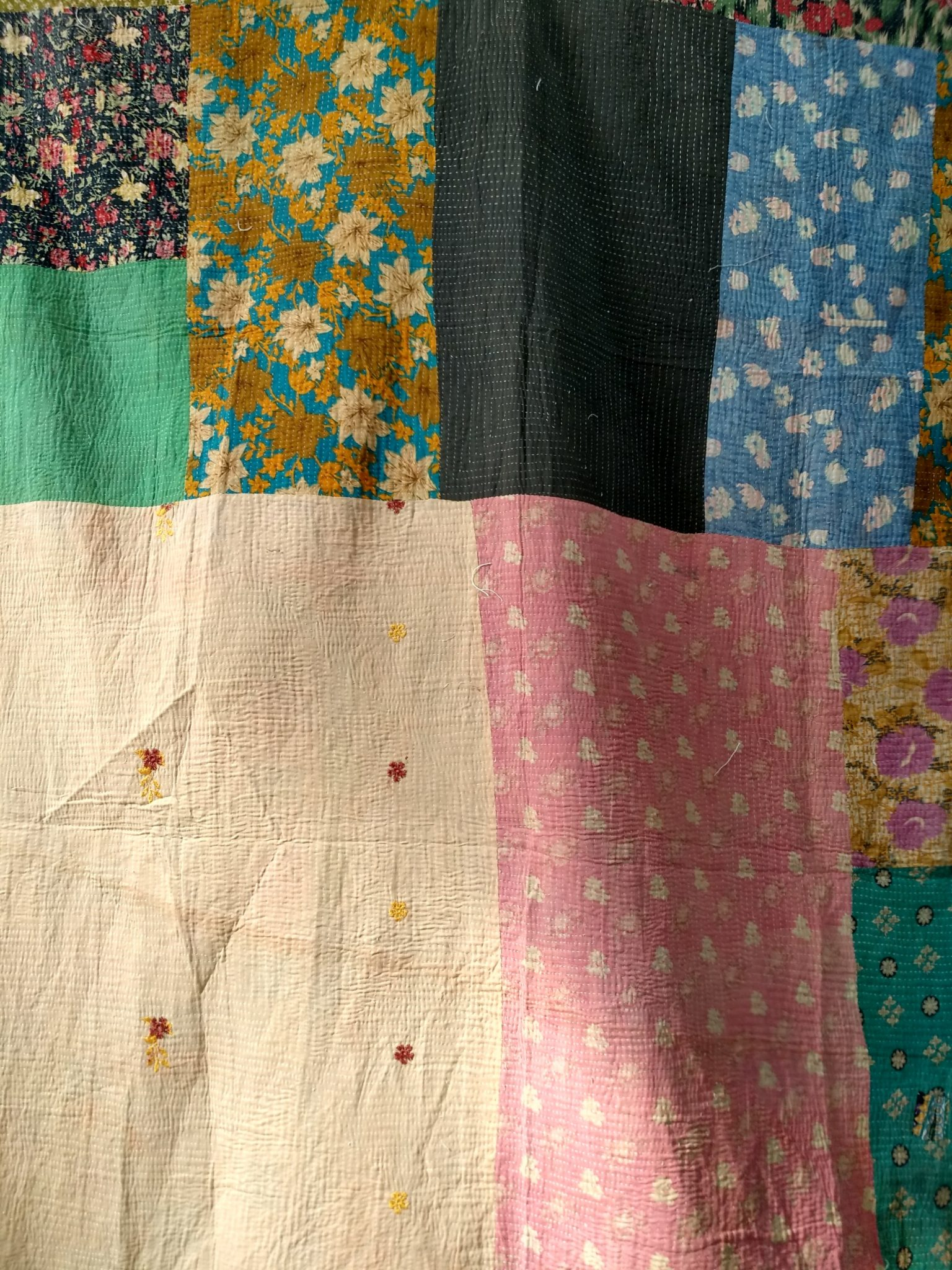 Close Stitched queen Kantha Quilt