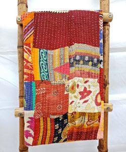 Handmade Sari Patchwork Kantha Quilt