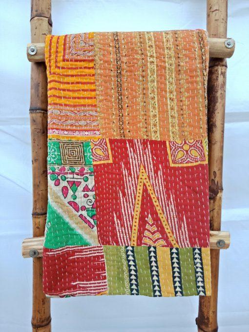 Happy Color Patchwork Kantha Quilt