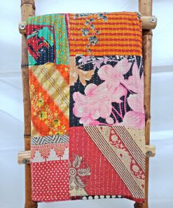 Artisan hand-stitched Patchwork Kantha Quilt