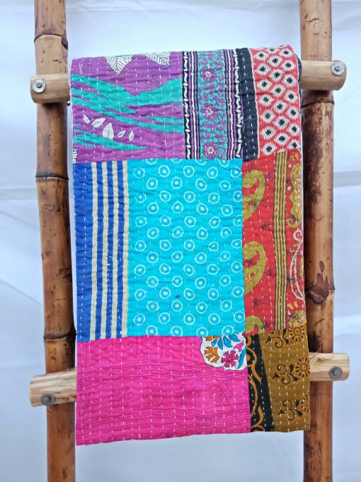 Floral Pattern Patchwork Kantha Quilt