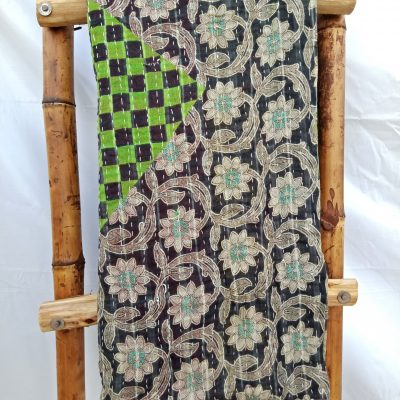Peacock Feather Vintage Kantha Quilt
