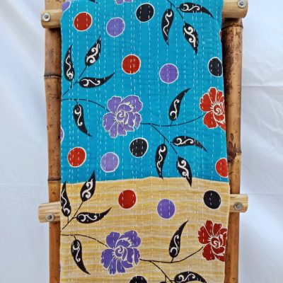 Polka Floral Vintage Kantha Quilt