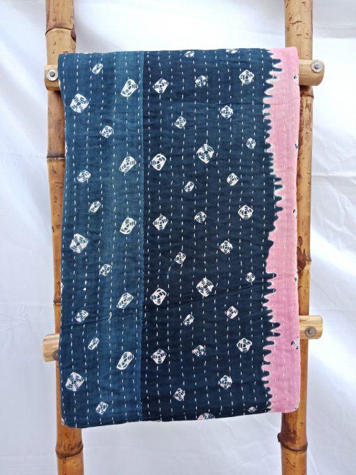Black Vintage Kantha Quilt