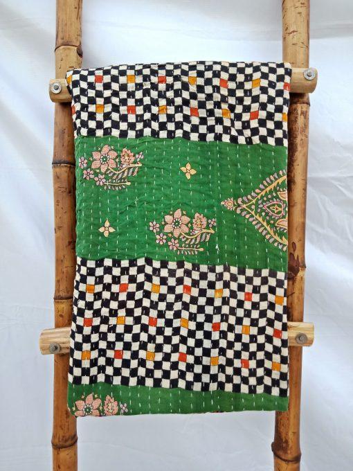 Checkerboard Vintage Kantha Quilt