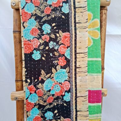 Black Beauty Vintage Kantha Quilt