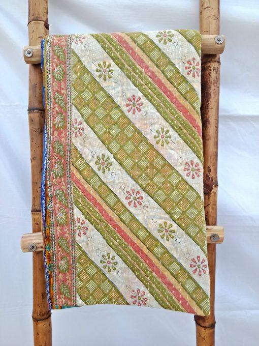 Turquoise Floral Vintage Kantha Quilt