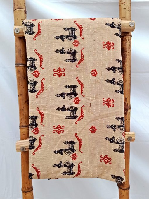 Rare Print Bengal Kantha Quilt