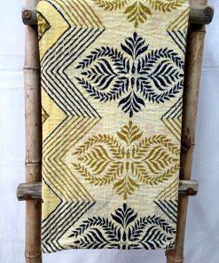Black Leaf Vintage Kantha Quilt