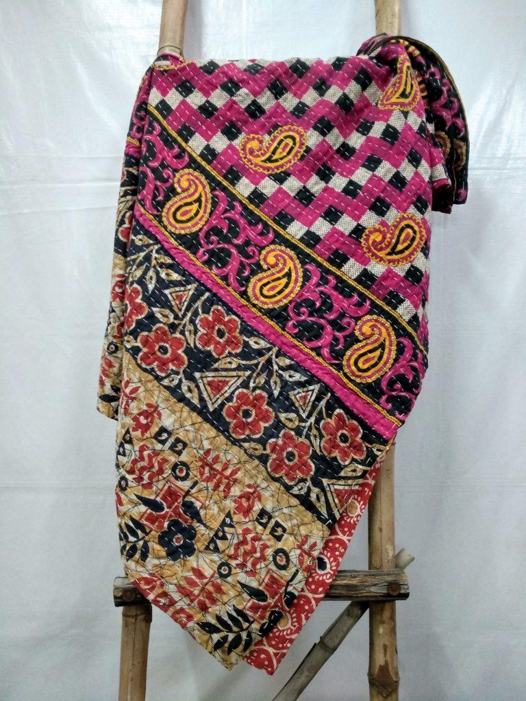 checkerboard twin kantha quilt