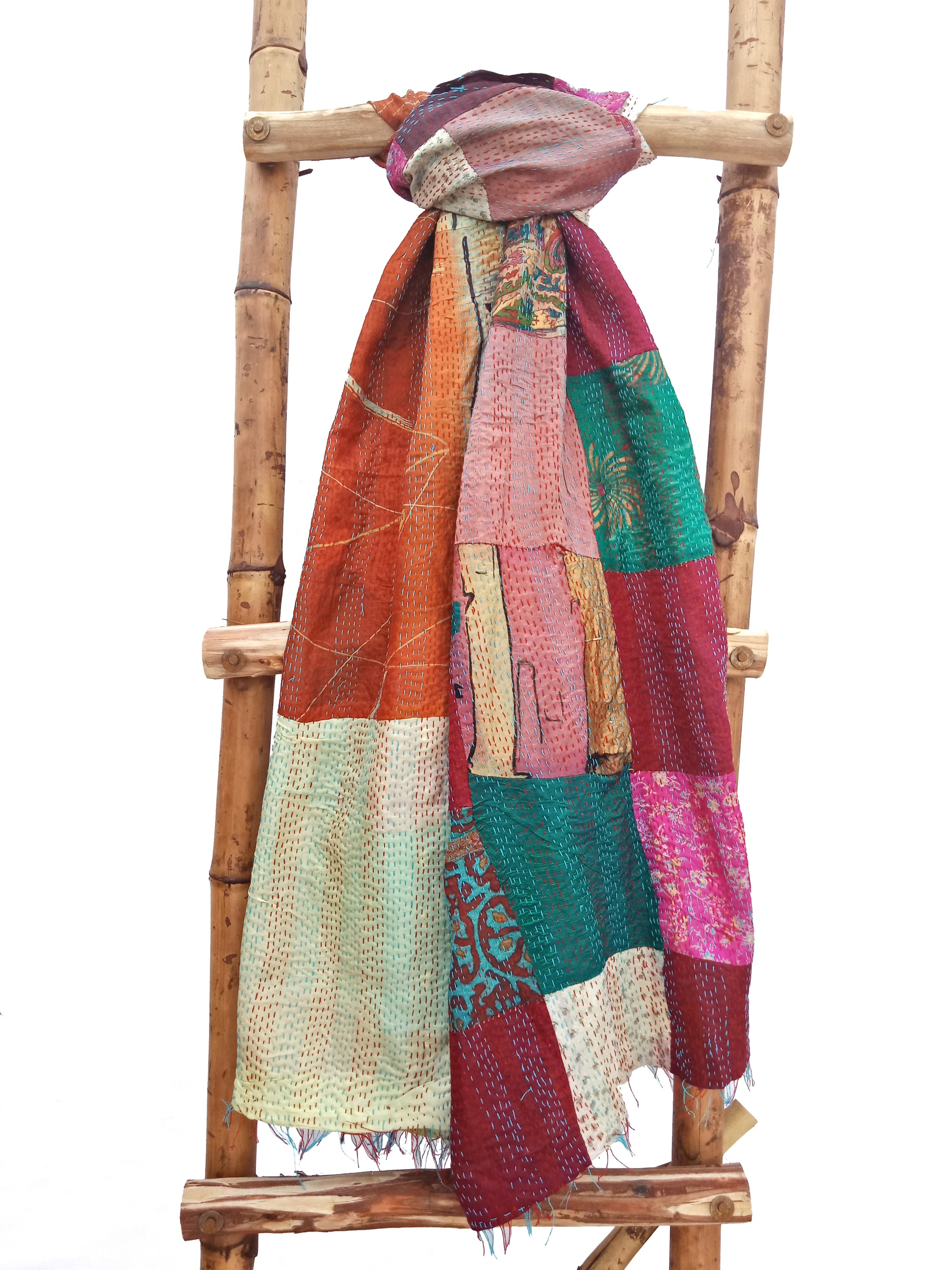 Indian Patchwork Kantha Scarf