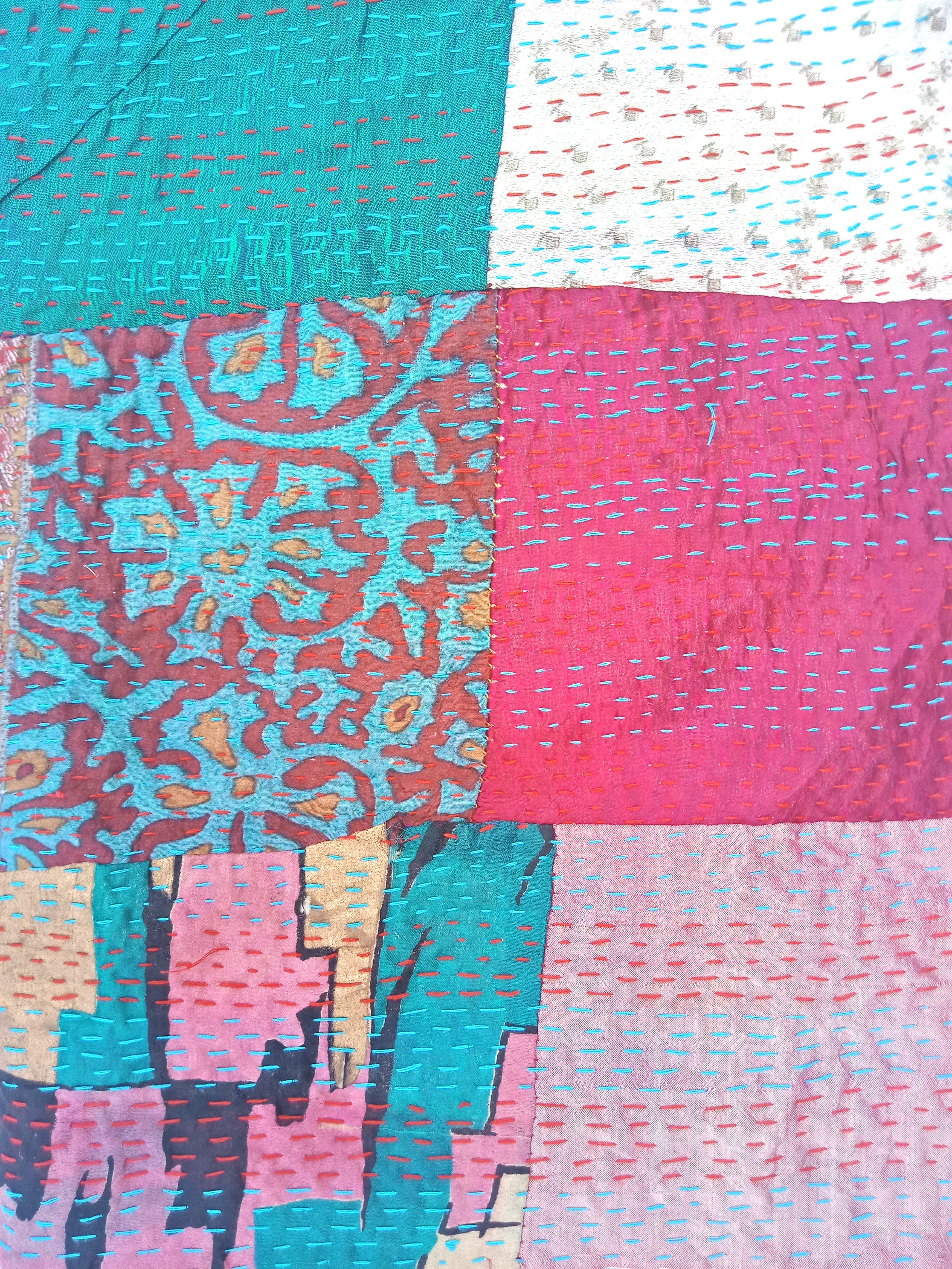 kantha embroidery scarf