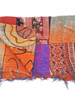 floral reversible kantha stole