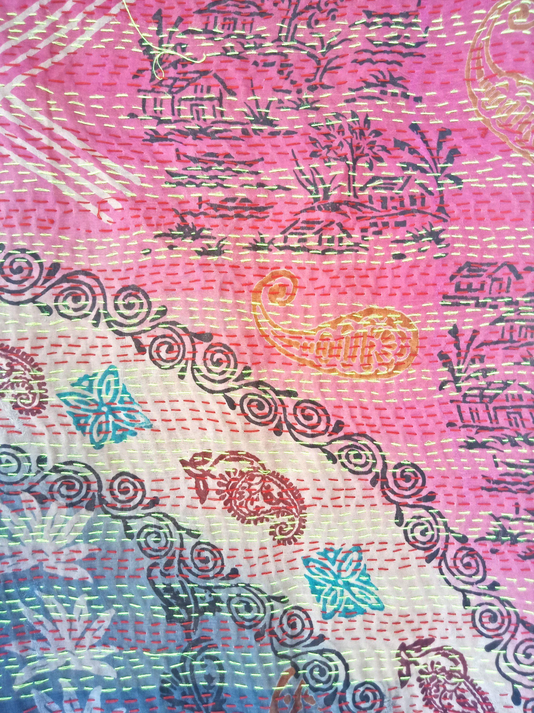artisan made floral kantha scarf