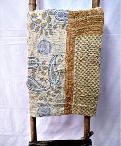 Paisley Leaf Vintage Kantha Quilt