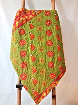 Floral Green Kantha Twin