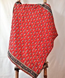 Red and Black Kantha Throw