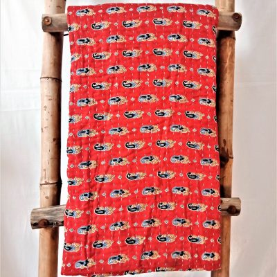 Red Paisley Kantha Throw Blanket