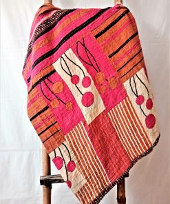 Red Pink Kantha Throw