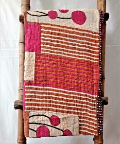 Pink Kantha Twin Cotton Throw