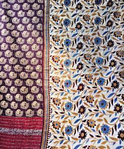 Cotton peacock kantha throw