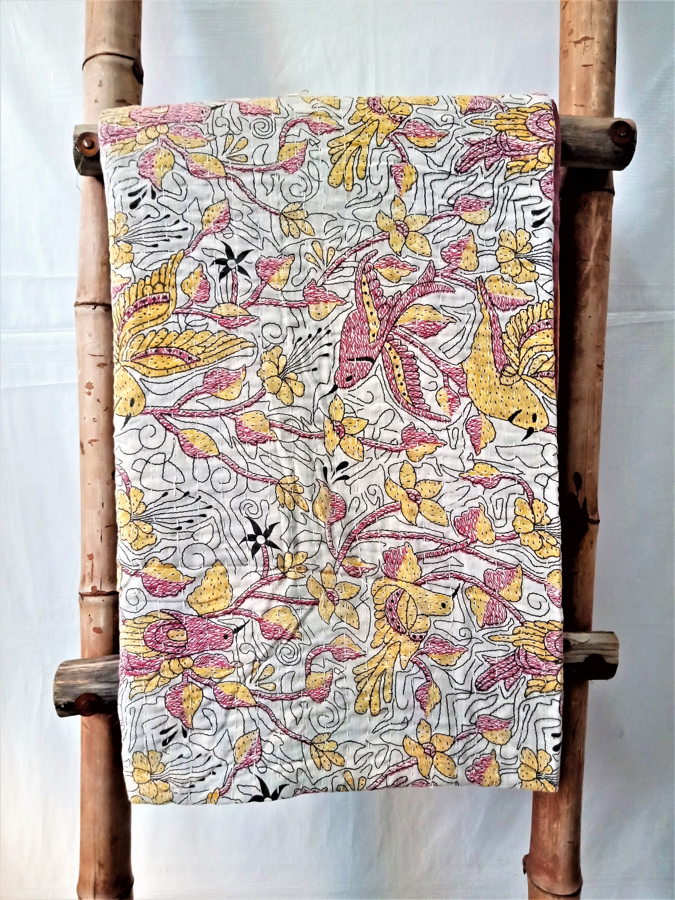 Bird of Paradise Kantha Quilt