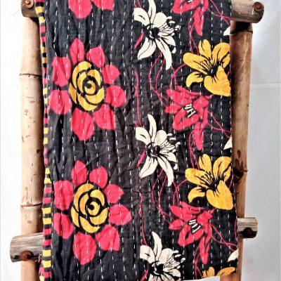 Black Beauty Floral Vintage Kantha Quilt