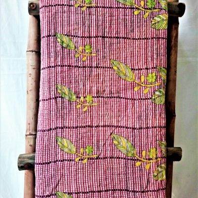 Multi Color Kantha Throw Blanket