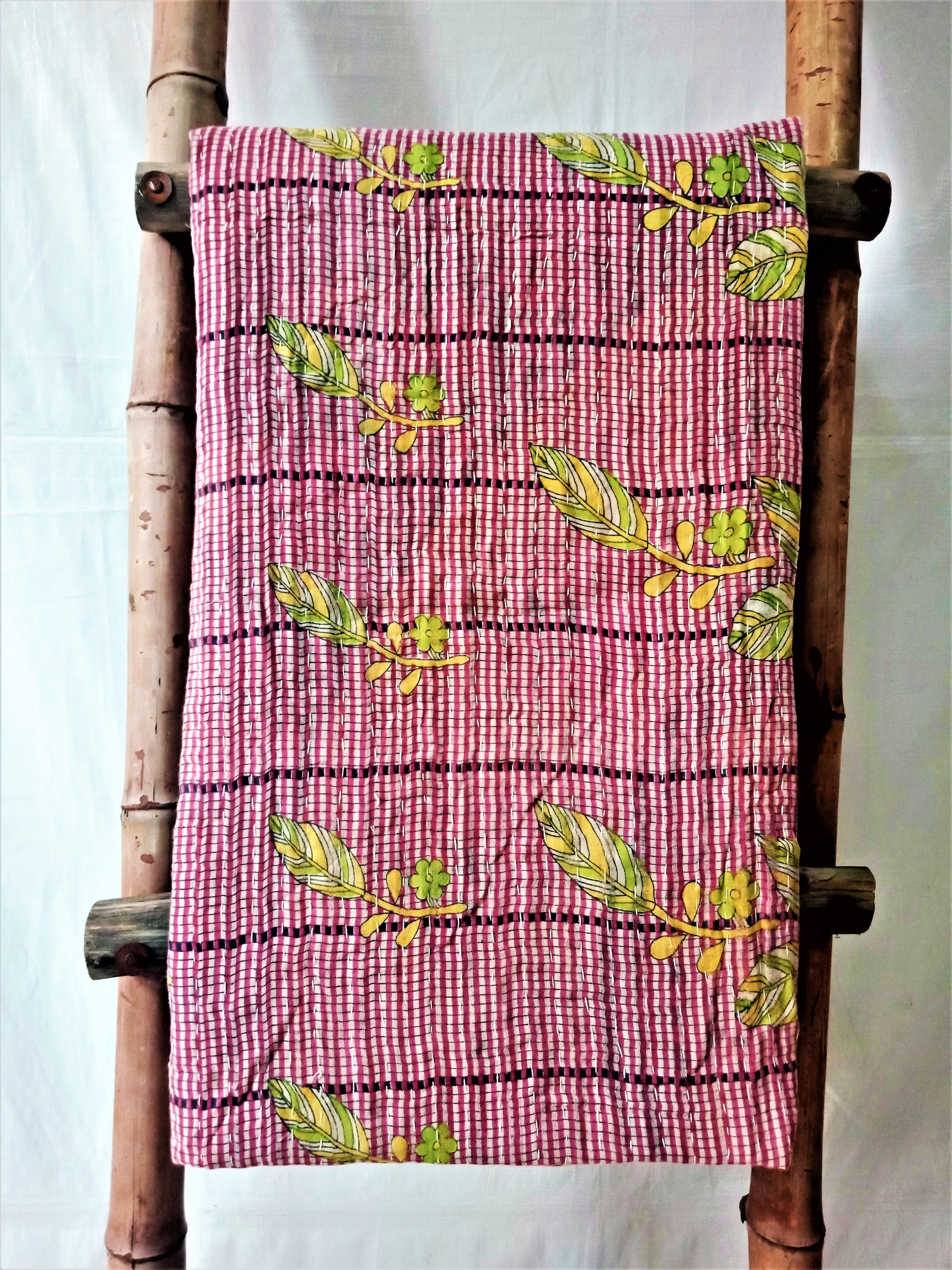 Multi Color Kantha Throw Blanket