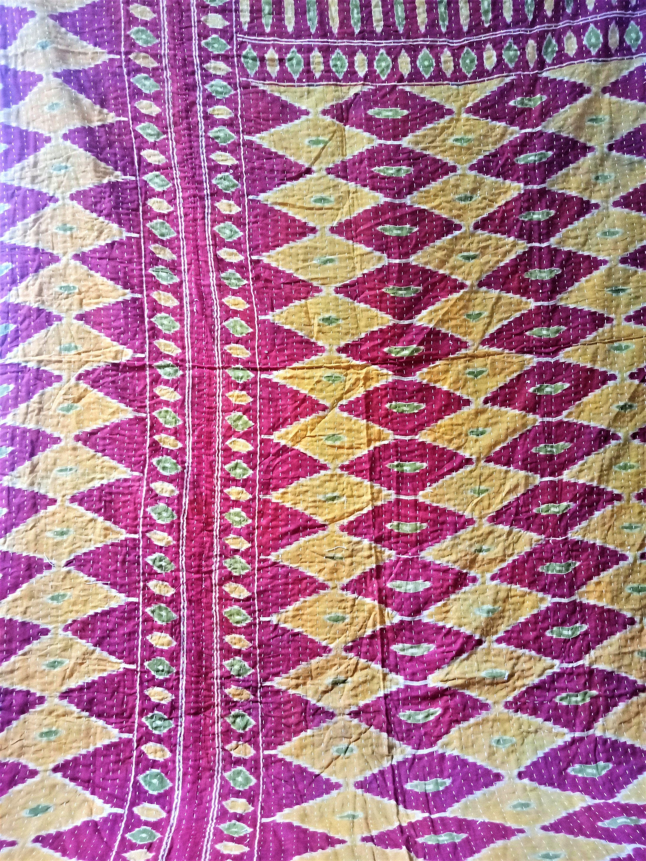 red kantha quilt