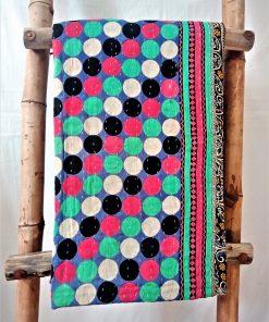 Polka Dot with Circles Vintage Kantha Quilt