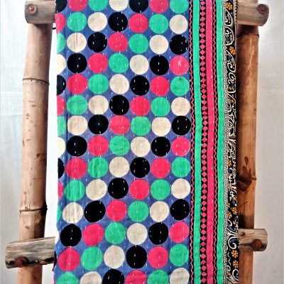 Polka Dot with Circles Vintage Kantha Quilt