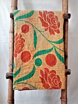 Floral Polka Vintage Kantha Quilt