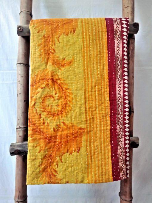 Spiral Polka Dot Vintage Kantha Quilt