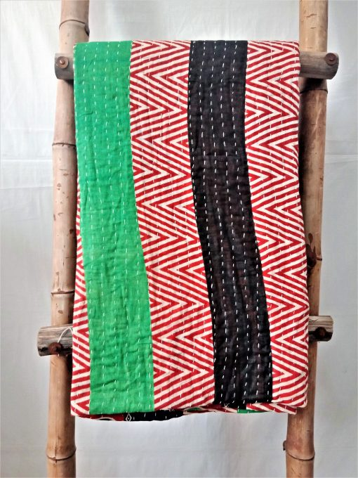 Geometric Zigzag Pattern Vintage Kantha Throw