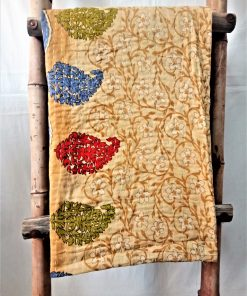 Multi-Color Paisley Floral Vintage Kantha Throw