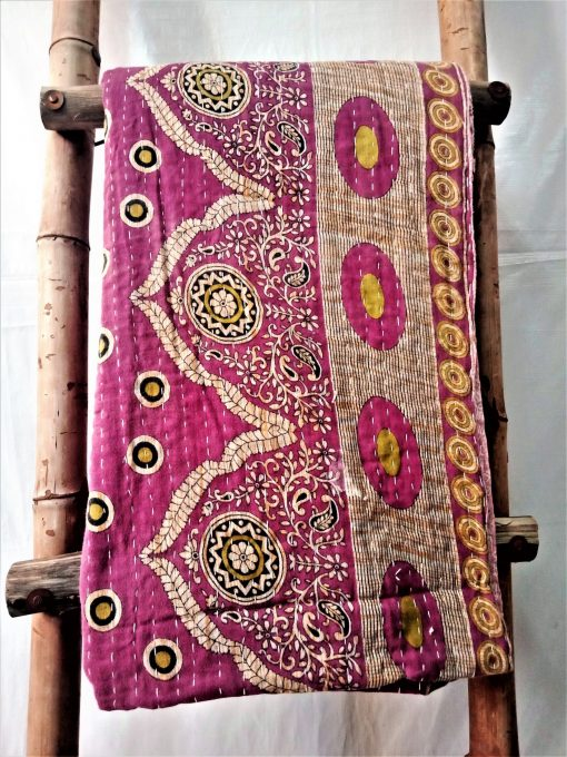 Polka Paisley Vintage Kantha Quilt