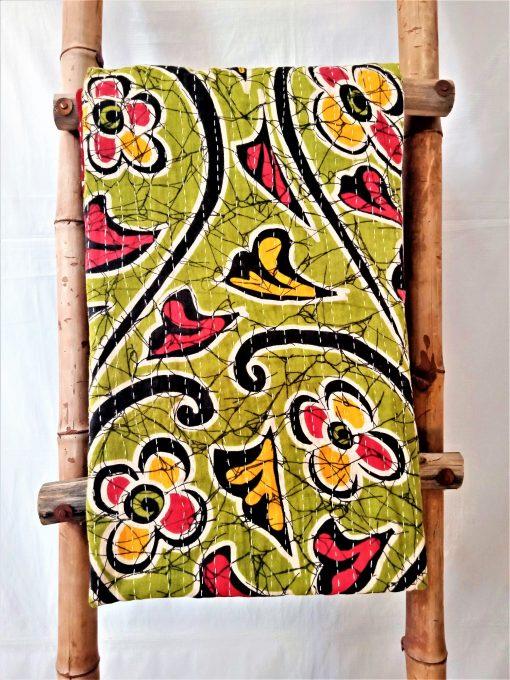 Spring Floral Pattern Cotton Kantha throw